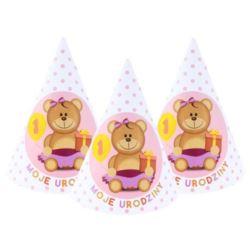 """balony, balony na hel, dekoracje balonowe, balony Łódź, balony z nadrukiem, Czapeczki papierowe """"Moje 1 Urodziny"""" 6 szt. róż"""