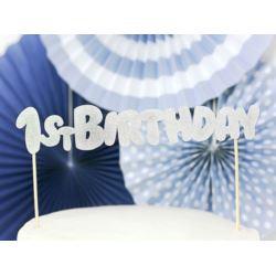 balony, balony na hel, dekoracje balonowe, balony Łódź, balony z nadrukiem, Topper na tort 1st Birthday, srebrny