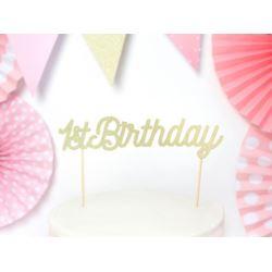balony, balony na hel, dekoracje balonowe, balony Łódź, balony z nadrukiem, Topper na tort 1st Birthday, złoty