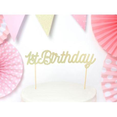 balony, balony na hel, dekoracje balonowe, balony Łódź, balony z nadrukiem Topper na tort 1st Birthday, złoty
