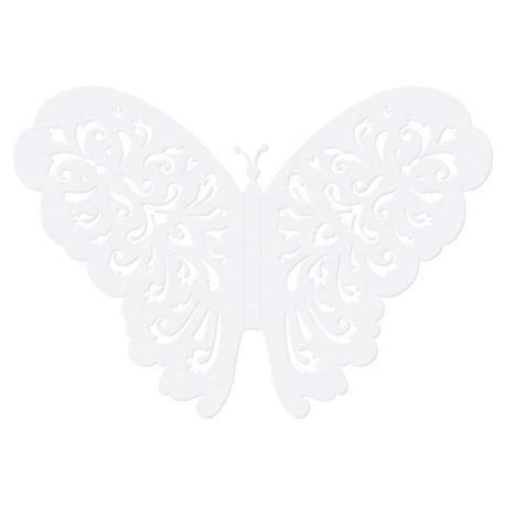 Motylki ozdobne, biały, 14cm (1 op. / 10 szt.)
