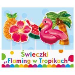 """balony, balony na hel, dekoracje balonowe, balony Łódź, balony z nadrukiem, Świeczki pikery """"Flaming w tropikach"""" 5 szt."""