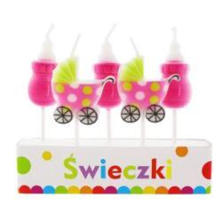 """balony, balony na hel, dekoracje balonowe, balony Łódź, balony z nadrukiem, Świeczki Pikery """"Pink Baby"""" 5 szt."""