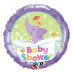 "Balon, foliowy 18"" QL CIR ""Baby Shower""(ze słoniki"