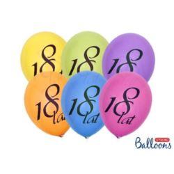 "balony, balony na hel, dekoracje balonowe, balony Łódź, balony z nadrukiem, Balon 27cm ""18 Lat"" pastel mix 1 op/6 szt"