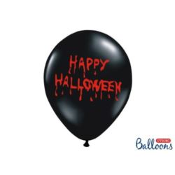 Balony 30 cm,Happy Halloween,Pastel Black 6 szt.