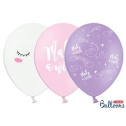 balony, balony na hel, dekoracje balonowe, balony Łódź, balony z nadrukiem, Balony 30 cm Jednorożec mix 6 szt.