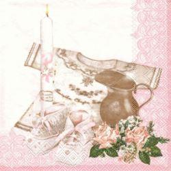 balony, balony na hel, dekoracje balonowe, balony Łódź, balony z nadrukiem, Serwetki chrzest - różowy 33x33 cm 20 szt.