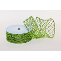Taśma dekoracyjna - zielony 5 cm x10 m tkana met.