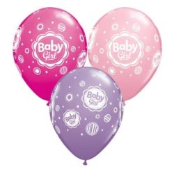 "Balon QL 11"" z nad. ""Baby Girl"" (grochy),mix"