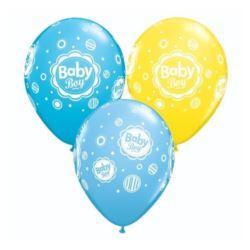 "Balon QL 11"" z nadr. ""Baby Boy""(grochy) mix"