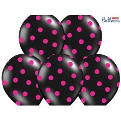 balony, balony na hel, dekoracje balonowe, balony Łódź, balony z nadrukiem, Balony 30cm, Kropki, Pastel Black 6 szt