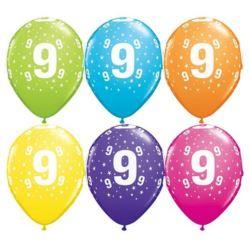 """Balon QL 11"""" z nadr.""""9"""", pastel mix / 6 szt."""