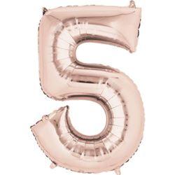 """Balon foliowy cyfra """"5"""" Rose Gold."""