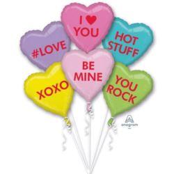 balony, balony na hel, dekoracje balonowe, balony Łódź, balony z nadrukiem, Bukiet balonów z różnymi napisami 6 szt.