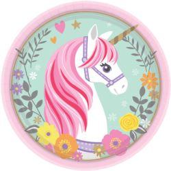 Talerzy Magical Unicorn okragle 18 cm papierowe