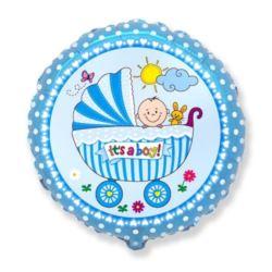 """balony, balony na hel, dekoracje balonowe, balony Łódź, balony z nadrukiem, Balon, foliowy 18"""" FX - """"Wózek dla chłopca"""""""