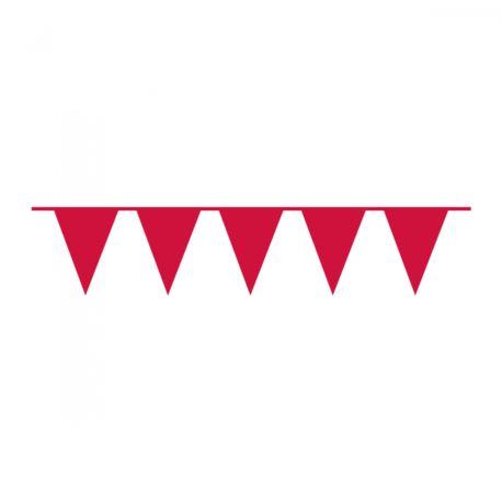 Girlanda flagi plastik 10 m czerwona
