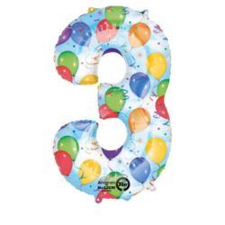 """Balon, foliowy Cyfra """"3"""" multikolor 50x86 cm"""