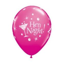 "Balon QL 11"" z nadr.""Hen Night"", pastel żurawinowy"