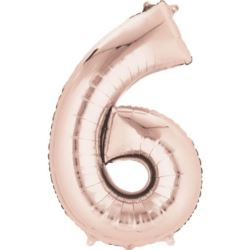 "Balon foliowy Cyfra ""6"" - Rose Gold 55x88 cm"