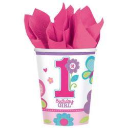 balony, balony na hel, dekoracje balonowe, balony Łódź, balony z nadrukiem, Kubeczki 1 urodziny dziewczynka