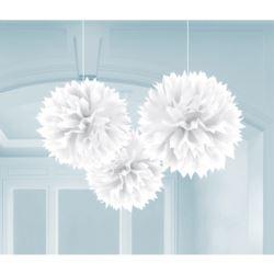 balony, balony na hel, dekoracje balonowe, balony Łódź, balony z nadrukiem, Pompony 40,6 cm bialy 3szt.