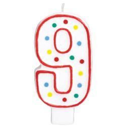 Swieczka urodzinowa cyferka 9 bialy & kropki