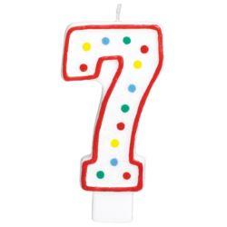 Swieczka urodzinowa cyferka 7 bialy & kropki