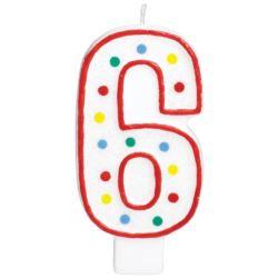Swieczka urodzinowa cyferka 6 bialy & kropki