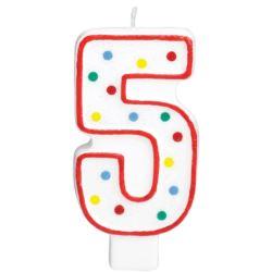 Swieczka urodzinowa cyferka 5 bialy & kropki