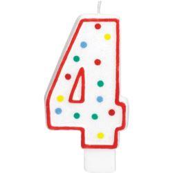 Swieczka urodzinowa cyferka 4 bialy & kropki