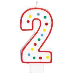 Swieczka urodzinowa cyferka 2 bialy & kropki