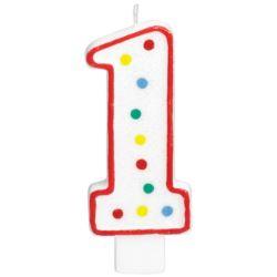 Swieczka urodzinowa cyferka 1 bialy & kropki