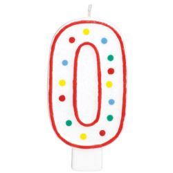 Swieczka urodzinowa cyferka 0 bialy & kropki
