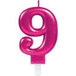 Swieczka cyferka 9 Sparkling Celebrations Pink