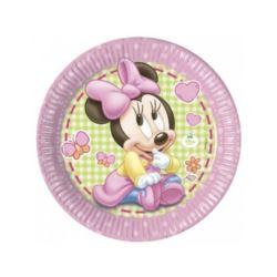 """balony, balony na hel, dekoracje balonowe, balony Łódź, balony z nadrukiem, Talerzyk papierowe """"Minnie Baby"""" 23 cm, 8 szt."""