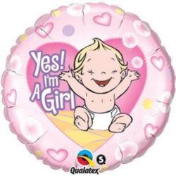 """balony, balony na hel, dekoracje balonowe, balony Łódź, balony z nadrukiem, Balon, foliowy 18"""" QL CIR """"YEP! Im a Girl"""""""