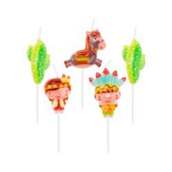 """balony, balony na hel, dekoracje balonowe, balony Łódź, balony z nadrukiem, Świeczki pikery """"Indianie"""", 5 szt."""