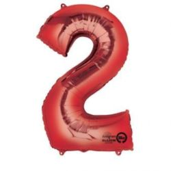 """Balon, foliowy cyfra """"2"""" czerwona 50x88 cm"""