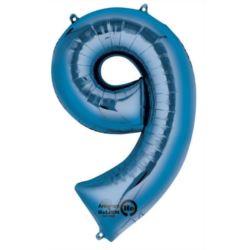 """Balon, foliowy Cyfra """"9"""" - niebieski 63x86 cm"""