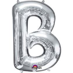 "Balon foliowy Litera ""B"" srebrny 68x86 cm"