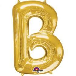 """Balon foliowy litera """"B"""" 58x86 cm - złoty"""