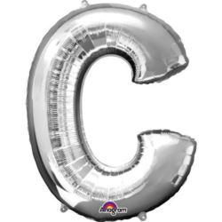 "Balon foliowy Litera ""C"" srebrny 63x81 cm"