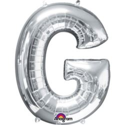 """Balon foliowy Litera""""G"""" srebrny 63x81 cm"""