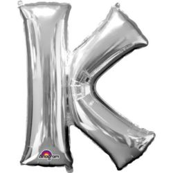 """Balon foliowy Litera """"K"""" srebrny 66x83 cm"""