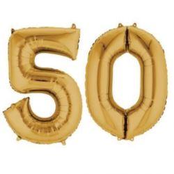 """Balony foliowe cyfry """"5 i 0"""" - złote"""