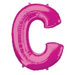 """Balon foliowy Litera """"C"""" różowy, 60x83 cm"""
