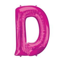 """Balon foliowy Litera """"D"""" różowy, 60x83 cm"""