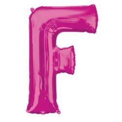"""Balon foliowy Litera """"F"""" różowy, 53x81 cm"""